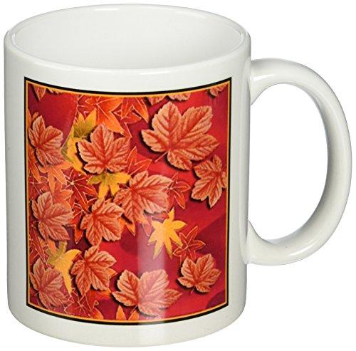 3dRose mug_17509_1 Autumn Leaves Becher, keramik, mehrfarbig Autumn Leaves Teller