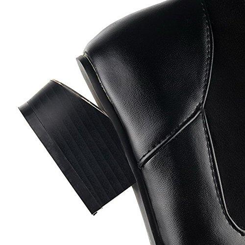VogueZone009 Damen Blend-Materialien Hoch-Spitze Rein Ziehen Auf Mittler Absatz Stiefel Schwarz