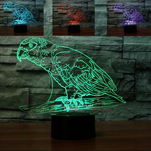 Ändern Der Tabelle Schubladen (3D vogel Illusions-Lampen, Tolle 7 Farbwechsel Acryl berühren Tabelle Schreibtisch-Nachtlicht mit USB-Kabel für Kinder Schlafzimmer Geburtstagsgeschenke Geschenk)