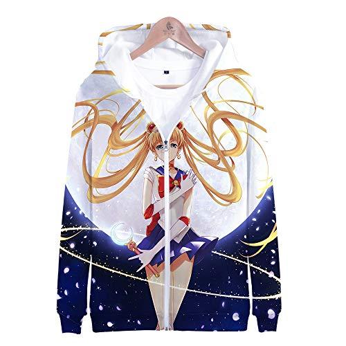 RJHWY 3D Hoodie Sweatshirt Unisex Pullover Kapuzenjacke Kleidung Mantel Reißverschluss Anime Top Sailor Moon XL