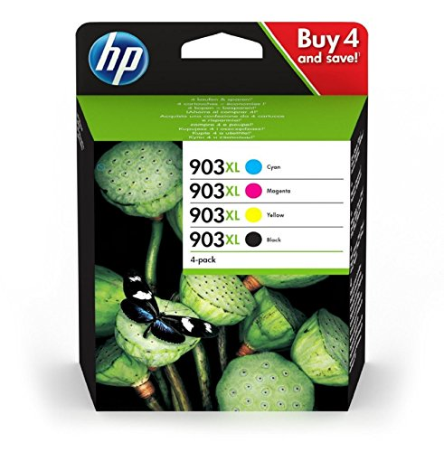 HP 903XL Multipack Druckerpatronen (mit hoher Reichweite für HP Officejet, HP Officejet Pro) schwarz, rot, gelb, blau (High-yield-tinte)
