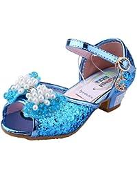 Tyidalin Niñas Zapatos de Cuero Lentejuelas para Baile Tacones Altos Disfraz de Princesa Cosplay Fiesta Carnaval Navidad EU25-36