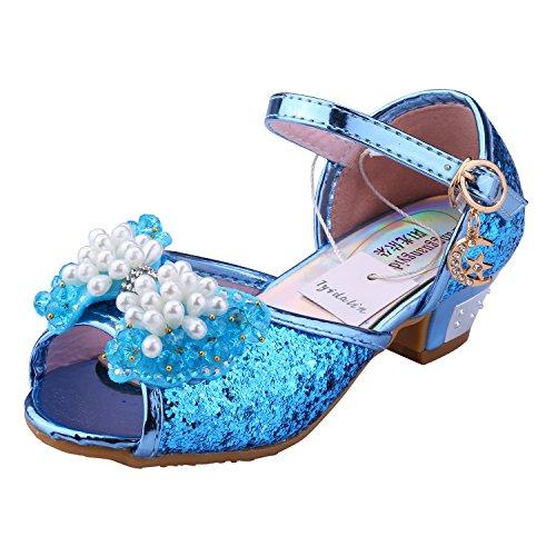 Tyidalin Mädchen Ballerinas Schuhe Schleife und Pailletten - Prinzessin Sandale Kostüm Schuhe mit dem Absatz Karneval Fest für Kinder Blau EU34