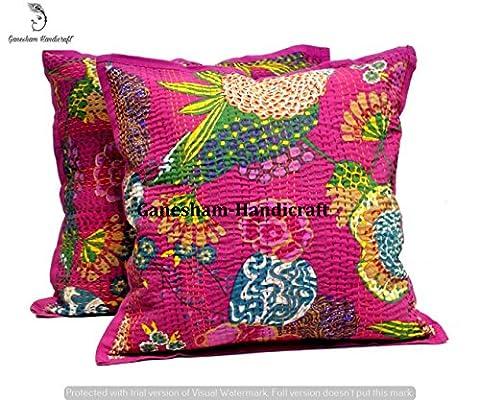 Ganesham- Indian Decorative Handmade Cotton Floor Pillow &Cushion Hippie Sofa Boho Chic Bohemian Toss Pillow Sequin Pillow Shams Sofa Pillows Couch Pillow Boho Pillow kantha Cushion Cover