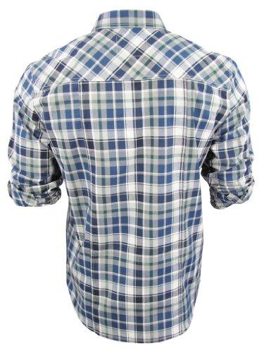 Herren Dissident Hemd Kariert Shirt Vega Aufrollbare Ärmel Denim