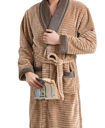 Herren Winter Dicke Warme Langärmeligen Trainingsanzug Pyjama Nachthemd Bademantel,Brown-XL -