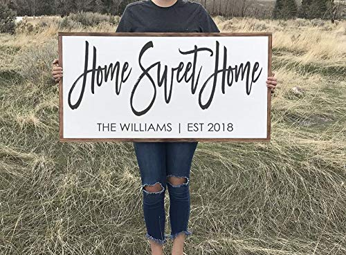 lmf379581 Framed Wood Sign Wall Decor Wooden Signs Home Sweet Home Wooden Sign Family Name Sign Last Name Wall Art Established Wood Sign Wood Artwork Fixer Upper Decor Farmhouse Decor