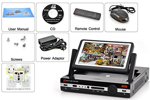 Sourcingbay 4 channel DVR because of 7 Inch Monitor H264 Video Compression D1 Resolution Record Playback HDMI expenditure aid cel visiting Surveillance Cameras