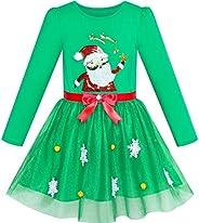 Sunny Fashion Vestido para niña Navidad Sombrero de Santa Manga Larga Fiesta 6-12 años