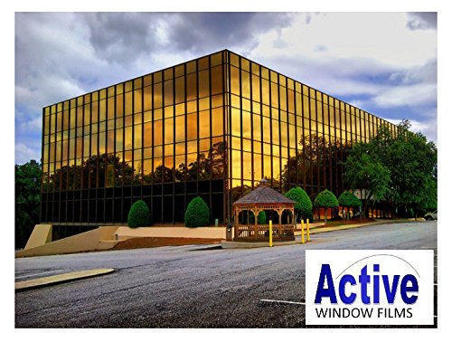 Active Film Mirror Gold - Privacy One Way Pro Window Tinting Tint Film One Way, Solar Control Gold Reflective Window Film 20m x 100cm (40