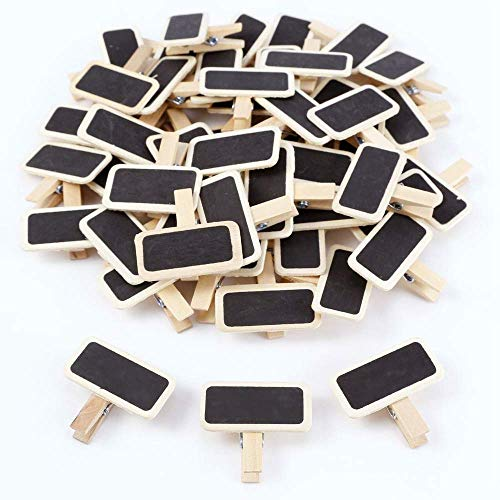 Mini Blackboard Clips - 50 -Set Chalkboard Tag Signs, Wooden Message Board for Memo, Note Taking, Food Label, Party - Rectangle