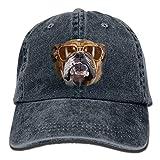 Osmykqe Bulldog with Sunglasses Denim Hat Adjustable Womens Mini Baseball Caps Y0995