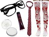 Déguisement de lycéenne zombie avec une paire de lunette + bas ensanglanté + peinture pour le visage blanche + faux sang + une cravate noire et rose. Ideal pour les fêtes d'Halloween.
