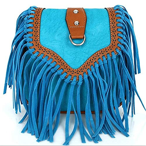 Blue Suede Fringe (Women Messenger Bags Small Fringe Crossbody Bag Retro Suede Tassel Shoulder Bag for Women,Sky Blue)
