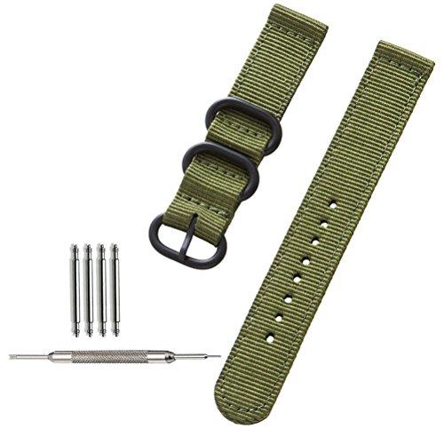 ZHUGE NATO Uhrenarmbänder Weaved Prämie Ballistic Nylon schwarzer Edelstahl Schnalle Green 22mm