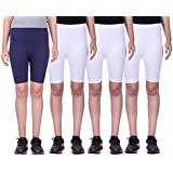 Belmarsh Girls Stretchable Cycling Shorts - Pack Of 4 (NVY_WHT_WHT_WHT)
