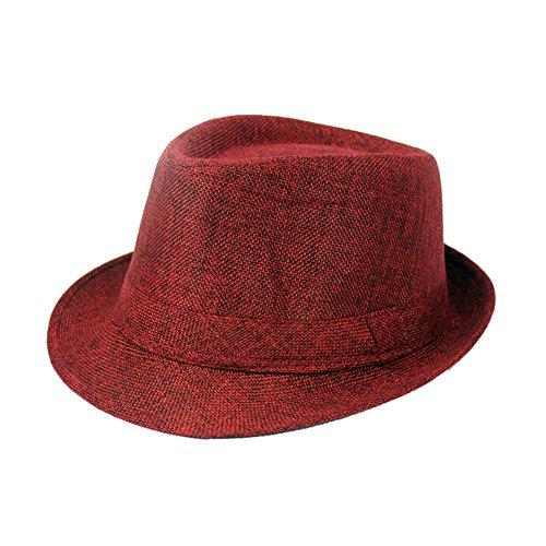 Idopy - Chapeau fedora - Homme Rouge