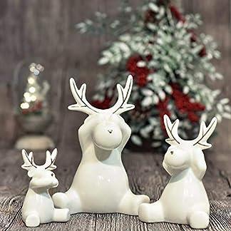 Valery Madelyn 2Pcs Adornos de Renos de Navidad de Cerámico, Decoraciones de Navidad de Estatuilla de Alce, Estatuas de Centro y Mesa (Invierno Espumoso)