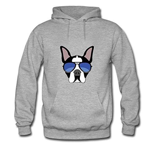 HGLee Printed Personalized Custom Boston Terrier Dog Classic Women Hoodie Hooded Sweatshirt Gray--1