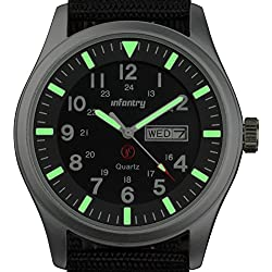 INFANTRY® Mens Analogue Quartz Wrist Watch Date Day 24Hrs Lume Silver Sport Black Nylon Strap