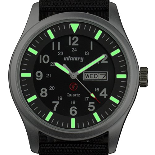 Infantry IN-044-S-N Mens Analogue Quartz Black Nylon Strap Wrist Watch