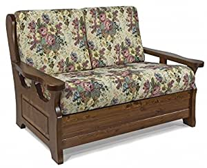 Arredamenti rustici divano rustico 2 posti finitura noce gobelin casa e cucina - Divano rustico 3 posti ...