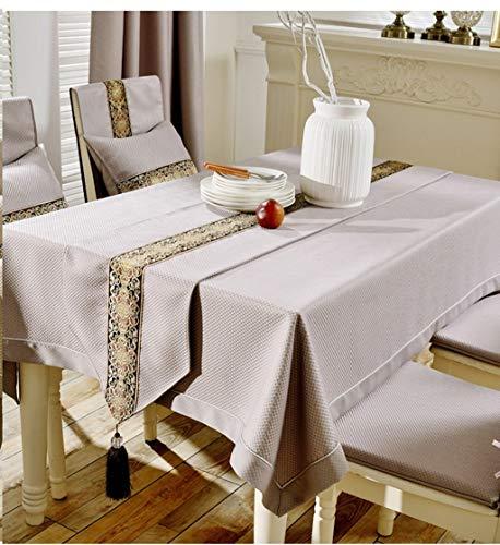 LSD Tischtuch,Europäischen Stil Tischdecke Quartet Platz Platz Tischdecke Rechteckigen Tischdecke Schöne Geruchlos Kaffeetisch Matte Computer Tuch,140 * 200 cm,Hellbraun
