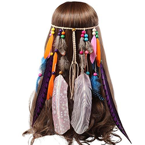Feder Kopfschmuck Hippie Festival Stirnband - Bedrucktes Federband für Frauen Kostüm Boho Einstellbar Haarband für Mädchen Maskerade Kopfstücke (Gedruckt - Lange ()