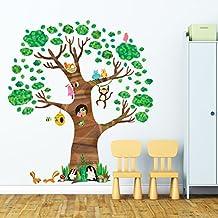 Decowall DL-1709 Árbol Gigante Animales Vinilo Pegatinas Decorativas Adhesiva Pared Dormitorio Salón Guardería Habitación Infantiles Niños Bebés