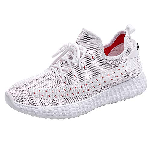 BCFUDA Frauen Freizeit Turnschuhe Atmungsaktives Mesh Outdoor Fitness Laufsport Sneakers Leichtgewicht Weicher Boden Low-Top Schnürschuhe Outdoor Fitnessschuhe -