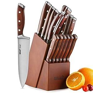 ROMEKER Messerblock Set Messer Küchenmesser Kochmesser Brotmesser Tranchiermesser Universalmesser Schälmesser Santokumesser Steakmesser Haushaltschere Wetzstahl,9-20cm Klingenlänge,15-Teilig