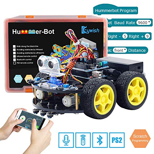 Keywish Smart Robot Car Kit for Arduino Hummer-Bot V2.0 DIY Learning Kit, 4WD Remote Control Car with UNO R3,Tutorial,Bluetooth Modules,Line Tracking,Ultrasonic Sensors Support Scratch Gift Kind - Remote-control Car Kit