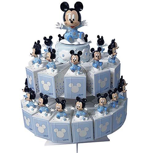 Cartoon world bomboniera torta con 29 scatoline portaconfetti piu statuine e carillon disney topolino