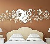 Wandora G049 Herz mit Blumenranke und Schmetterlingen Schlafzimmer Liebe Wandaufkleber Wandsticker weiß (BxH) 116 x 29 cm
