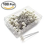 rosenice Perle Leiter Pins Kopf Kugelschreiber Perleffekt Pins Rechte für Nähen DIY Handwerk 100Stück (perlweiß)