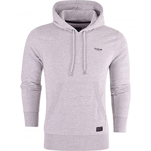 Firetrap Original Mens Designer Classic Overhead Pullover Hoodie Hooded Jumper Sweatshirt Top X Large Light Grey