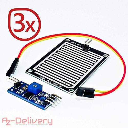 AZDelivery ⭐⭐⭐⭐⭐ 3 x Regentropfen Regen Sensor Modul für Arduino mit gratis eBook!