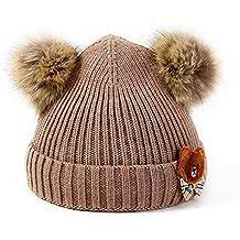 Amazon.it  cappello lana con pon pon - Marrone 48dda81ad298