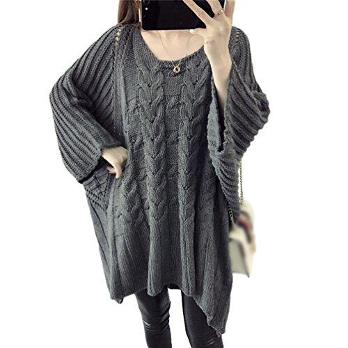 CHENGYANG Donna Maniche Lunghe Pullover Maglia Maglione Casuale Batwing Maglioni Oversize Tops Maglietta Grigio