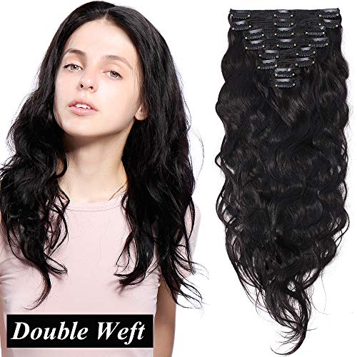 Extension clip capelli veri ricci neri 8 ciocche volumizzante double weft con 18 clips 100% remy human hair mossi naturali 140g (45cm, 1b nero naturale)