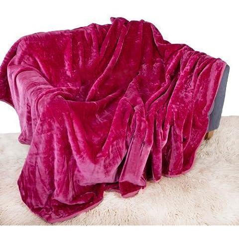 Rosa Fucsia Visón Manta Lujo Suave Plush Grande (150cm x 200cm- Para Tamaño Cama Doble O 2 Sillón Para Sentarse) Sofá Camino De Cama Colcha Manta De Quality Linen and