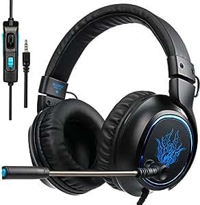Sades R5 Cuffie Gaming Gamer per PS4 Xbox One, Cuffia Auricolari Gaming Over Ear Super Confortevole Stereo Bass con Microfono, Controllo del Volume, per PC Mac Tablet Portatili Smart Phone - Regalo per San Valentino