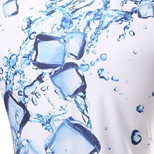QIYUN.Z Herren Sommer Wasser 3D Druckrundhalsausschnitt Kurze Ärmel Slim Fit Shirts T-Stück Stil 2