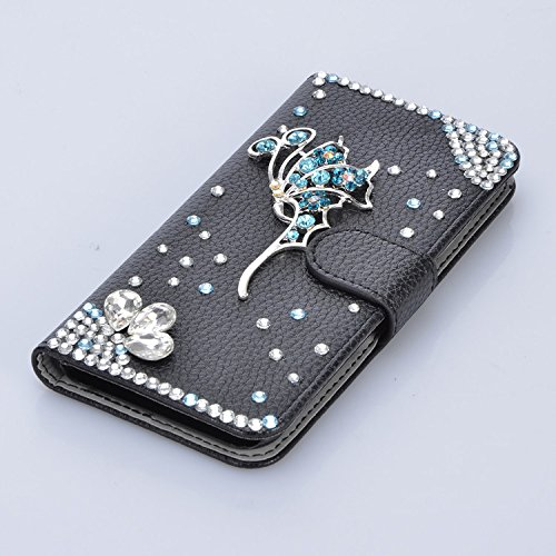 Vandot per iphone 8 Custodia in pelle Protettiva Flip Cover per iphone 8 Fiore Snap-on Magnetico Bookstyle PU Case,3D DIY Bling Bling Lusso Elegante Fantasia Shell + Hairball x 1 - Nero a forma di cuo Strass 16