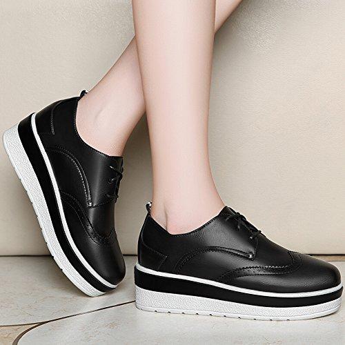 KHSKX-Le Printemps Et L'Automne De Nouvelles Semelles Épaisses Chaussures Muffins Chaussures Plates Les Femmes Rondes black