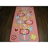 Non Slip Kids Pink Hop Scotch Playmat/Rug 80cm x 120cm