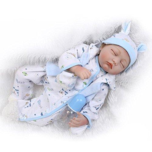 Nicery 22inch renacer de la muñeca de silicona suave Simulación de vinilo 55cm magnética Boca realista juguete lindo niños Blanco Azul con los ojos cerrados Reborn Baby