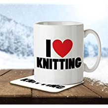I Love Knitting - Mug and Coaster By Inky Penguin