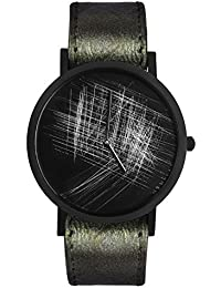 South Lane Avant Verge Silver - Ostrich Strap Unisex Quartz Watch with Black Dial Analogue Display and Green Leather Bracelet 8703.0