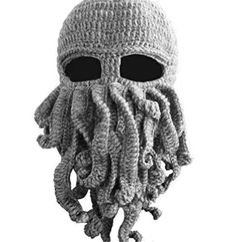 Bär Jungen Octopus Beanie für Herren Winter Warm Skifahren Radfahren Kostüm Squid Maske grau (Mardi Gra Kostüm Männer)